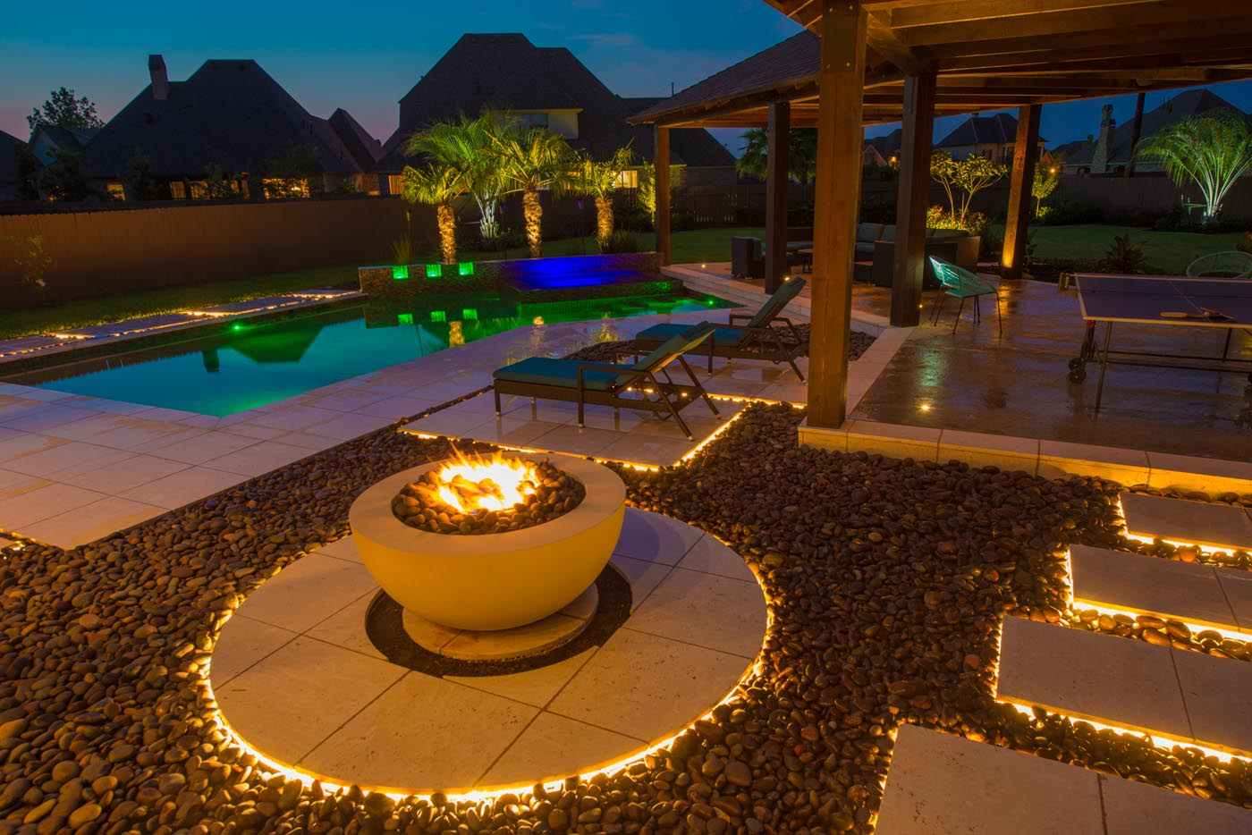 Outdoor Lighting Pool And Fire Pit